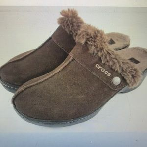 """CROCS"" Brown Suede and Faux Fur Clogs."
